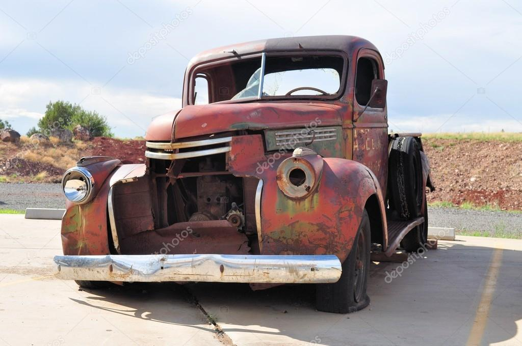 Rusty car wreck at Route 66, Arizona, USA