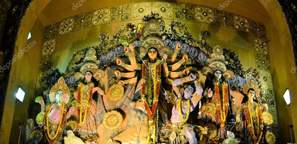 Hindu goddess idol in pandal temporary temple for durga puja hindu goddess idol in pandal temporary temple for durga puja kolkata stock photo altavistaventures Gallery