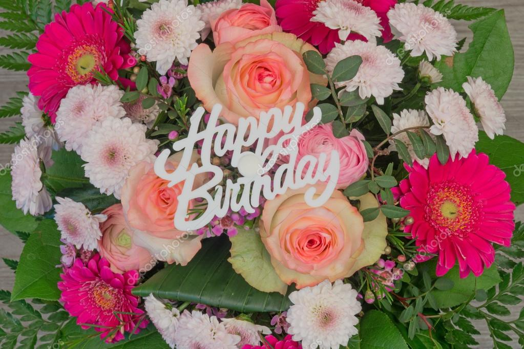 flower bouquet with text Happy Birthday — Stock Photo © kelifamily ...