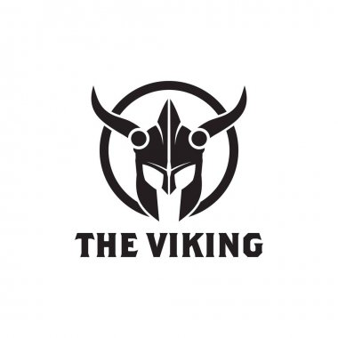 Black viking helmet logo design vector template icon