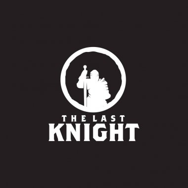 Logo of Knight surrender with holding a saber in his hand template icon
