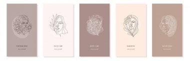 Vector set of nude girl backgrounds with flowers for stories. Portraits in minimalistic trendy style with copy space for text. Design templates for stories or social media printouts. Simple and trendy abstract design with women faces floral elements. icon