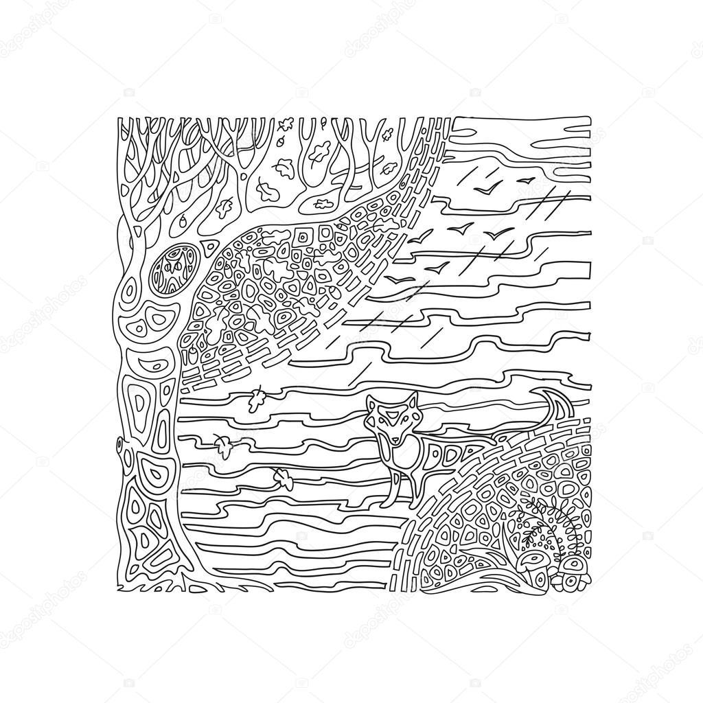 Kleurplaten Herfst Eikels.Kleurplaat Herfst In Het Bos Stockvector C Rakushka13sell 117582664
