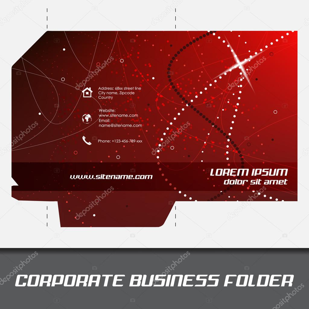 corporate business folder or document folder template stock vector
