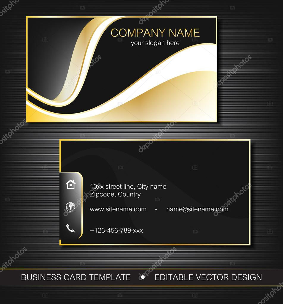 Business Card Template Or Visiting Set With Gold Curves Front And Back Side Editable Vector Design