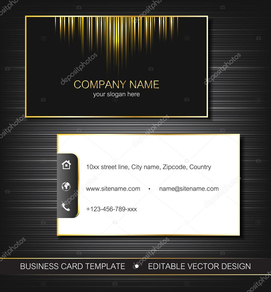 Business Card Template With Gold Curves Front And Back Side - Front and back business card template