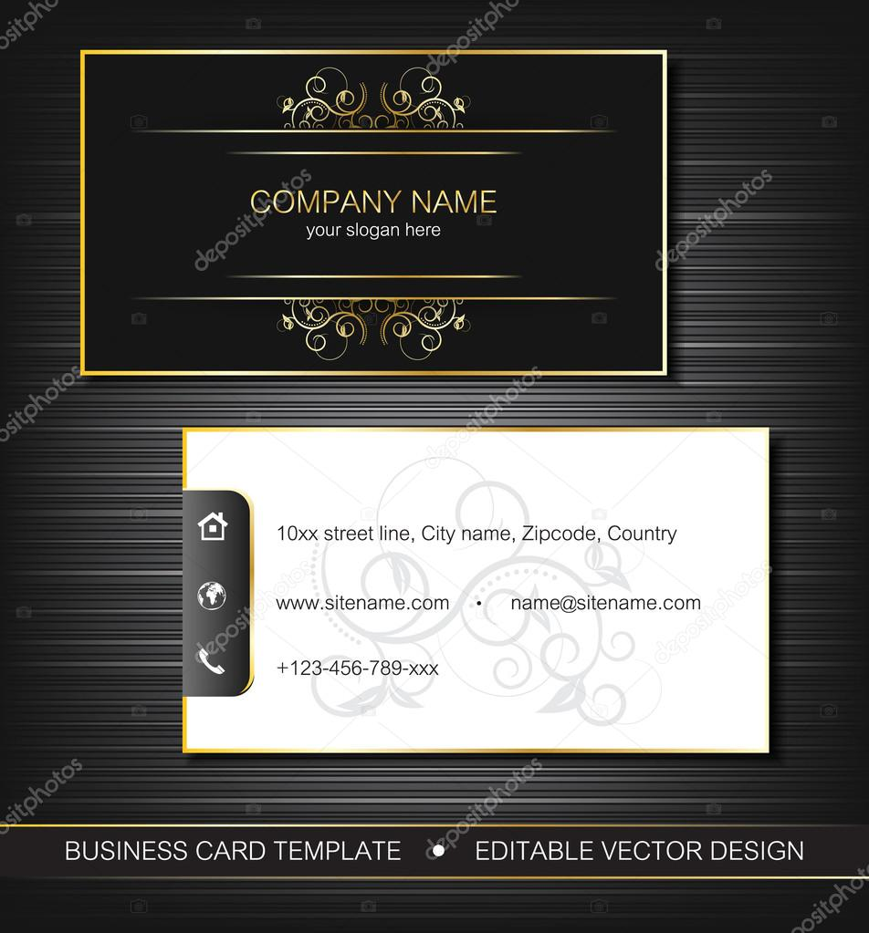 Business card template with gold curves, front and back side — Stock ...