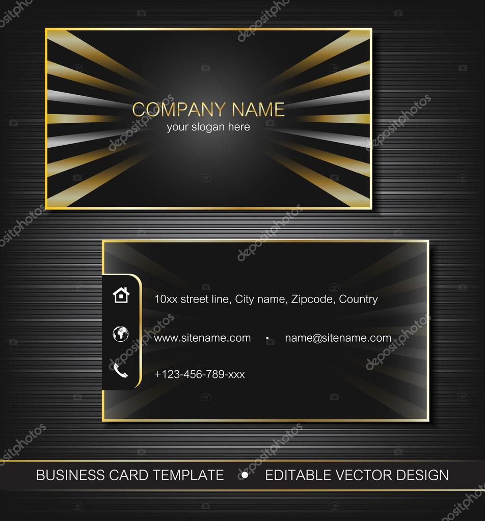 Business Card Template With Gold Curves Front And Back Side Vector Illustration Vecteur Par Ftotti
