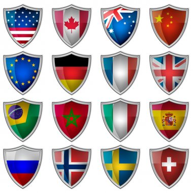 Set of glossy badges or labels with flags popular countries