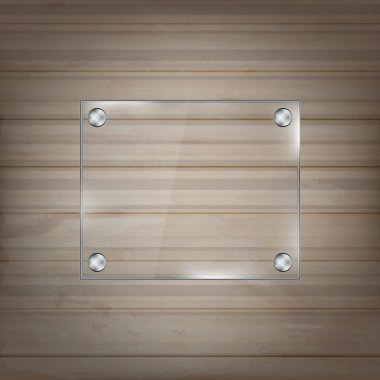 Rectangular glass frame on wooden background