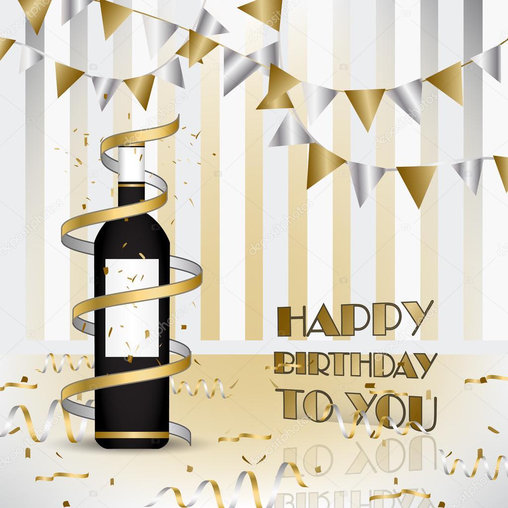 Joyeux Anniversaire Fond Avec Bouteille De Vin Et Rubans