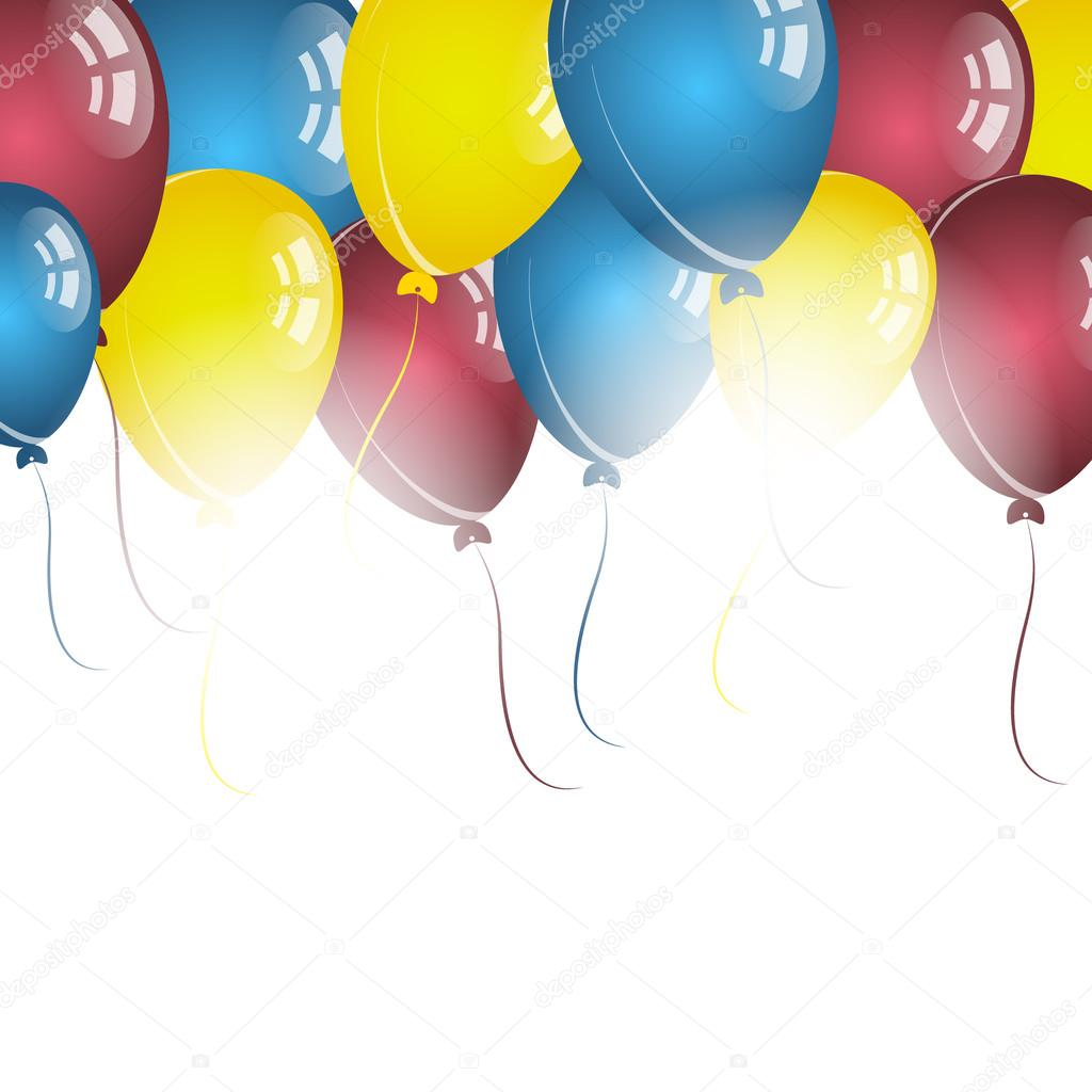 Color Balloons On White Background For Birthday Wishes Stock Illustration