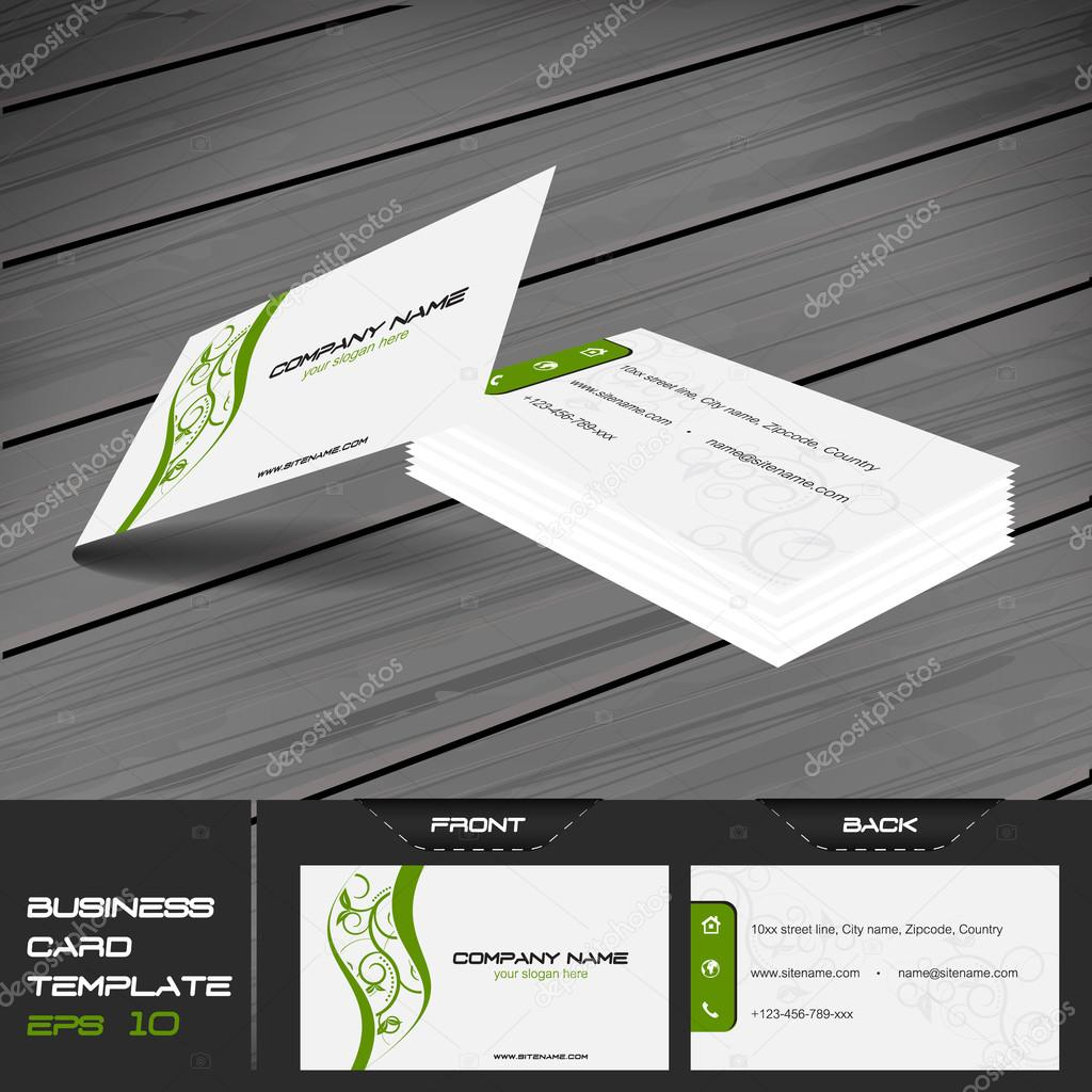 Business card vector template with front and back side stock business card template or visiting card set vector illustration with front and back side vector by ftotti colourmoves