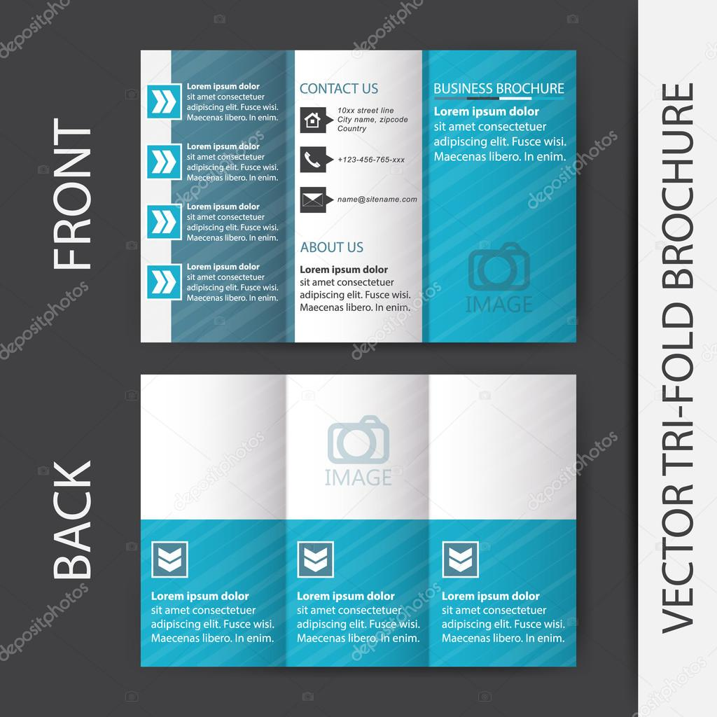 business tri fold flyer template brochure or cover design stock