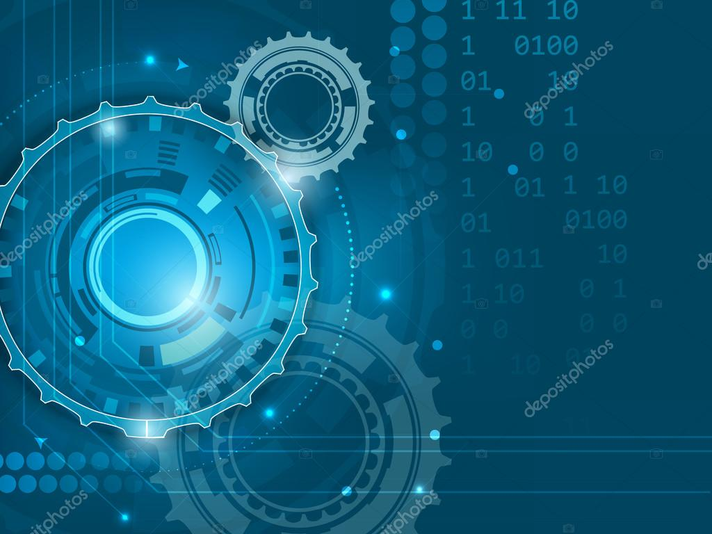 Abstract blue digital technology background with gears