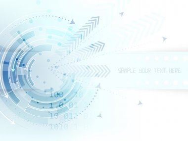 Technological abstract background with circle, arrows and stripe for text
