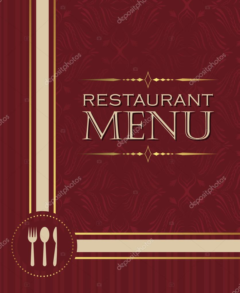 restaurant menu design cover template in retro style 02 — stock