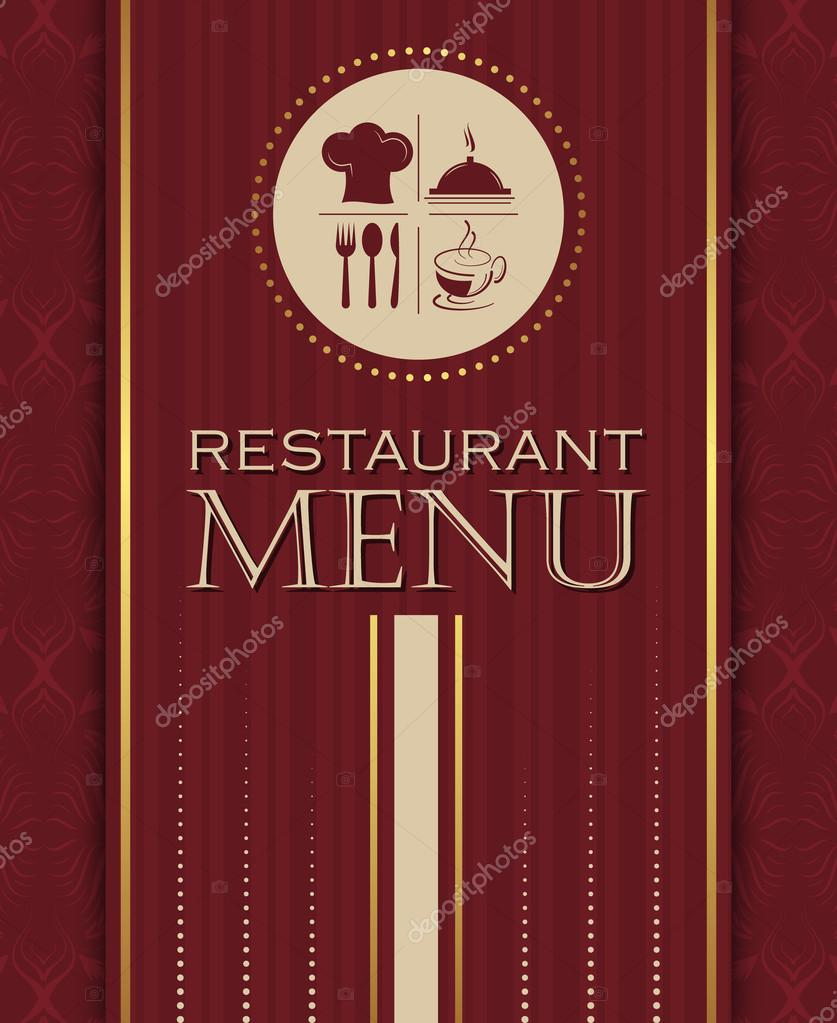 restaurant menu design cover template in retro style 04 — stock
