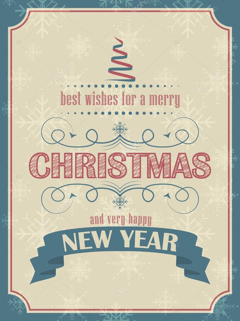 Weihnachten und Neujahr-Karte im retro-Stil mit Weihnachtsbaum und ...