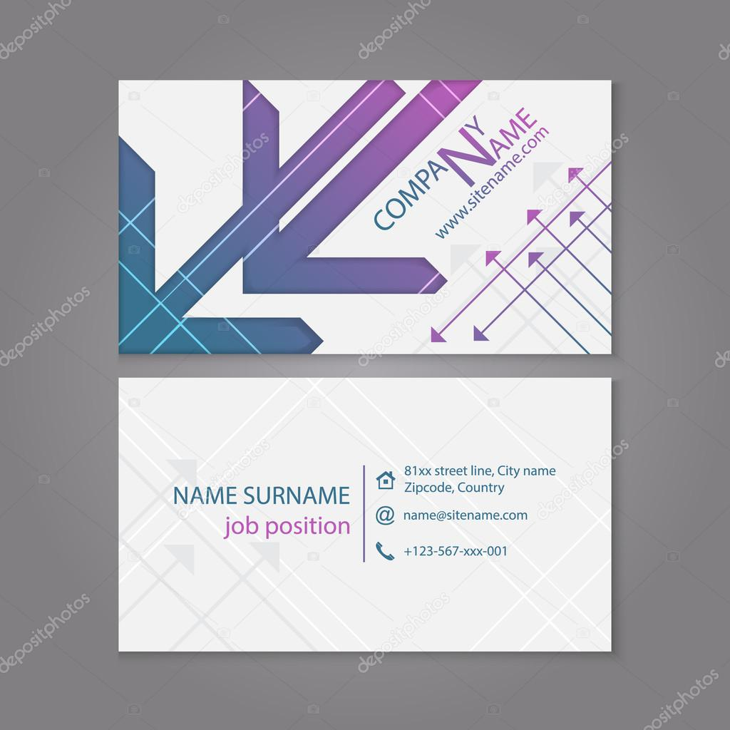 Business card template or visiting card set with arrow pattern ...