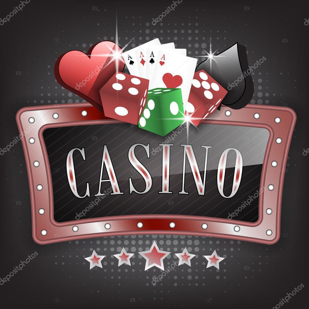 Ilustración de vector de Casino con marco ornamentado, símbolos de ...