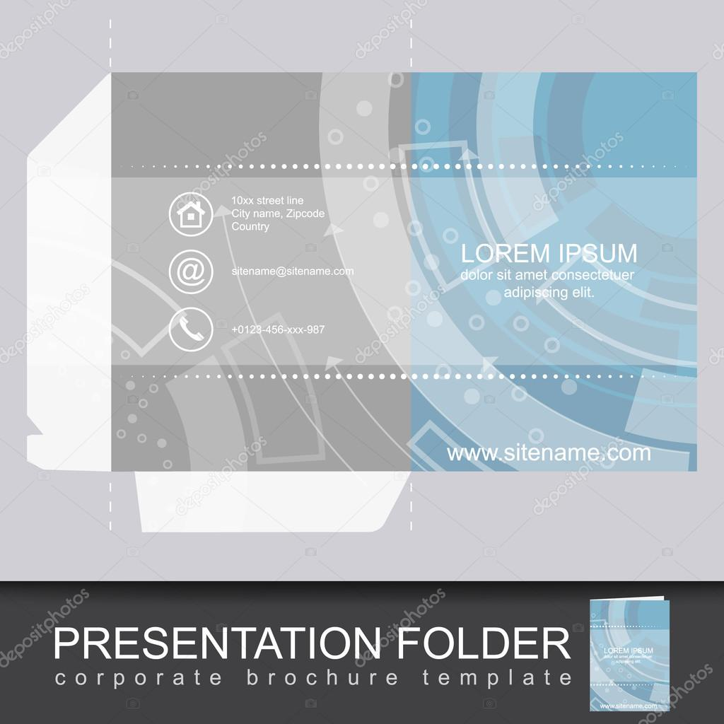 Presentation corporate folder template with die cut design stock presentation corporate folder template with die cut design stock vector wajeb Choice Image