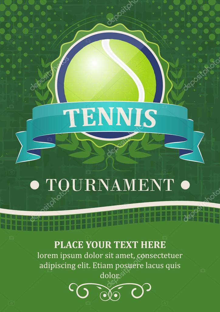 Fundo de vector de torneio de tênis ou cartaz com coroa de louro 87d26a150afde
