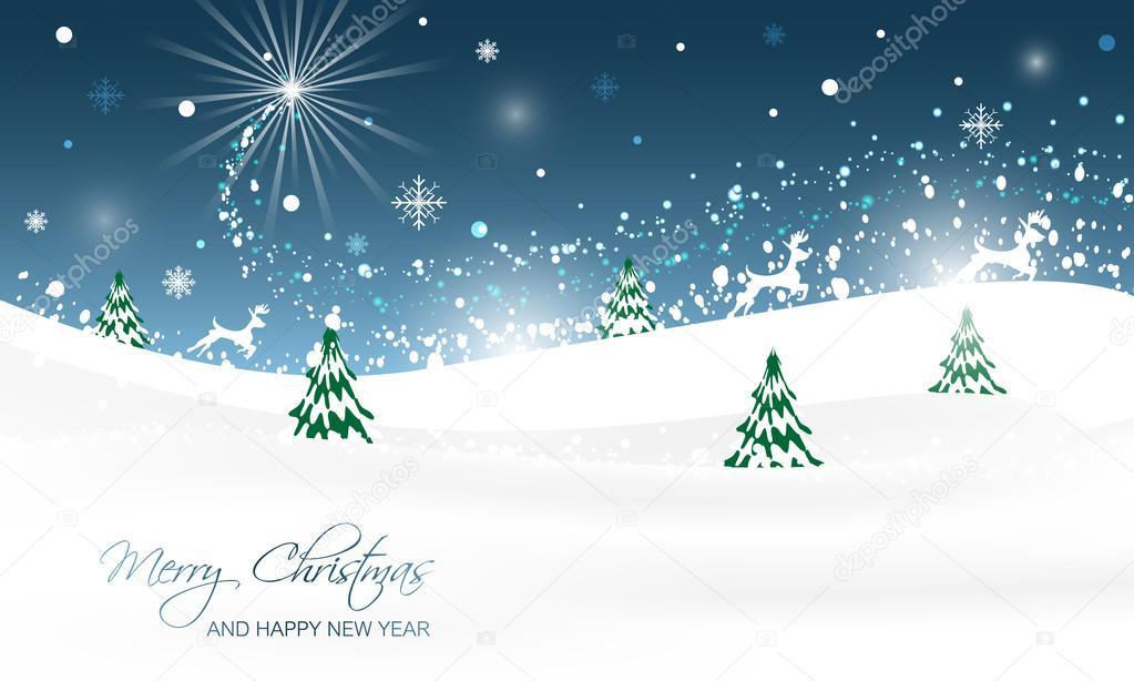 Weihnachten-Landschaft mit Bäumen, Glitter, Schnee und laufende ...