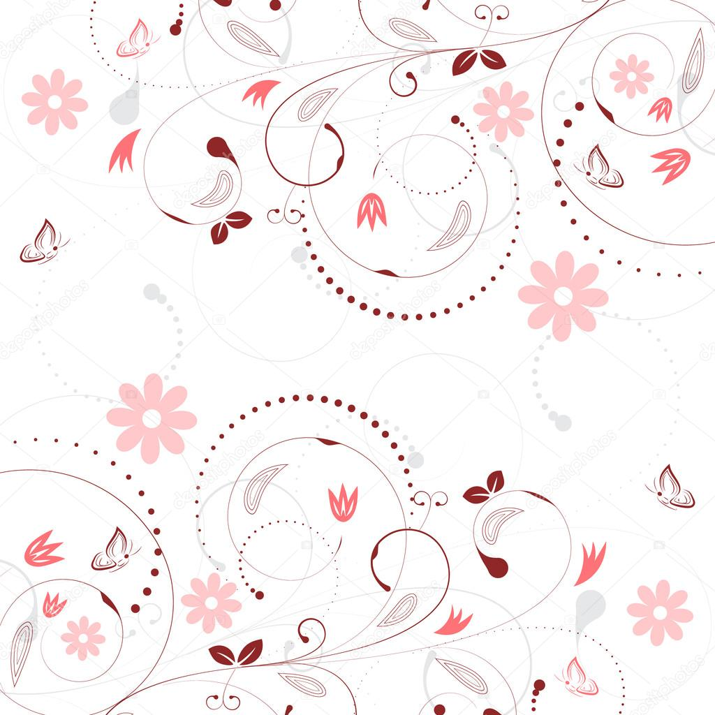 Floral vector background with vintage flower pattern and butterflies.