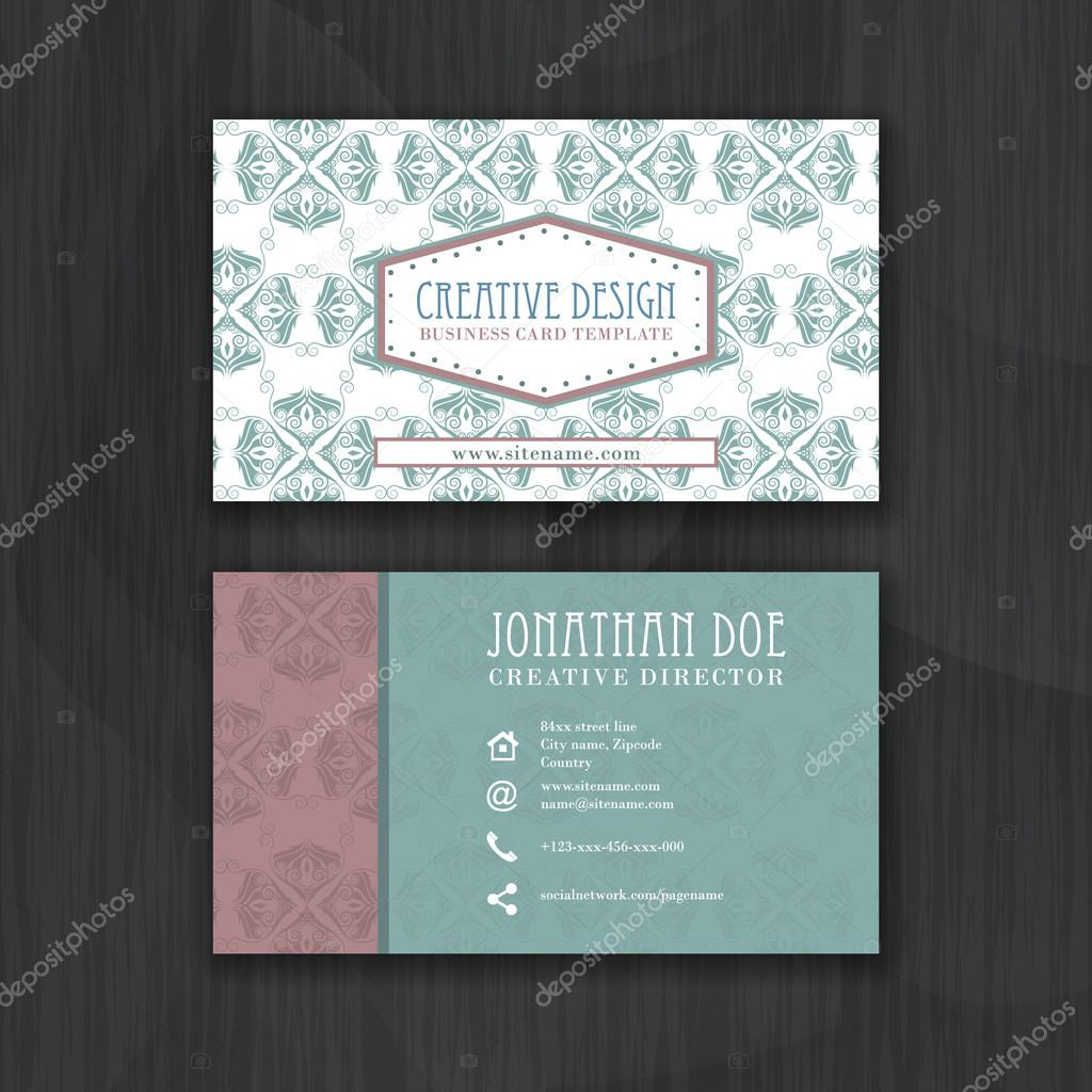 Vintage floral business card template for personal or professional ...