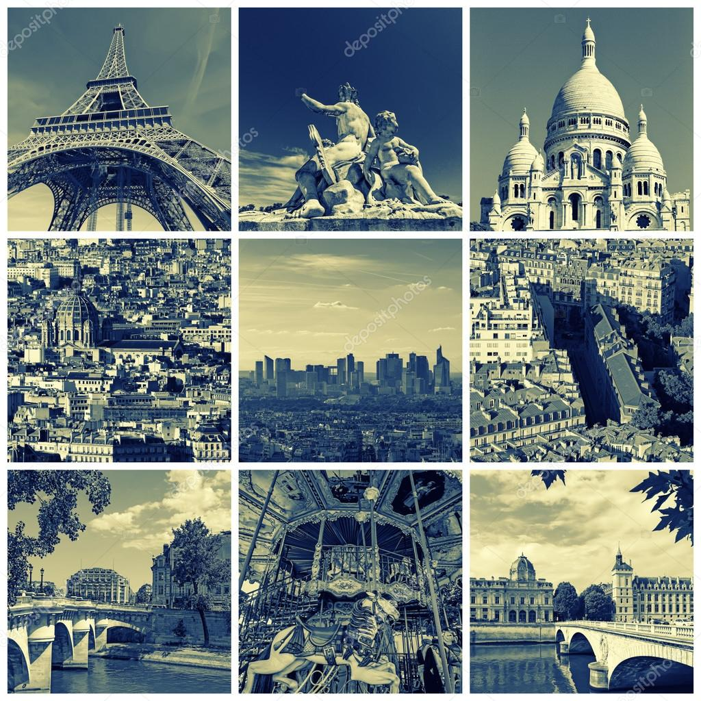 Collage Of Some Pictures Different Landmarks In Paris France Such As The Eiffel Tower Basilica Sacred Heart Bridges Above Seine
