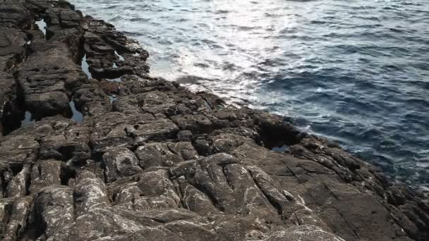 Sea water and rocks in Thassos island, Greece, next to the natural pool  called Giola  Sound of waves and wind