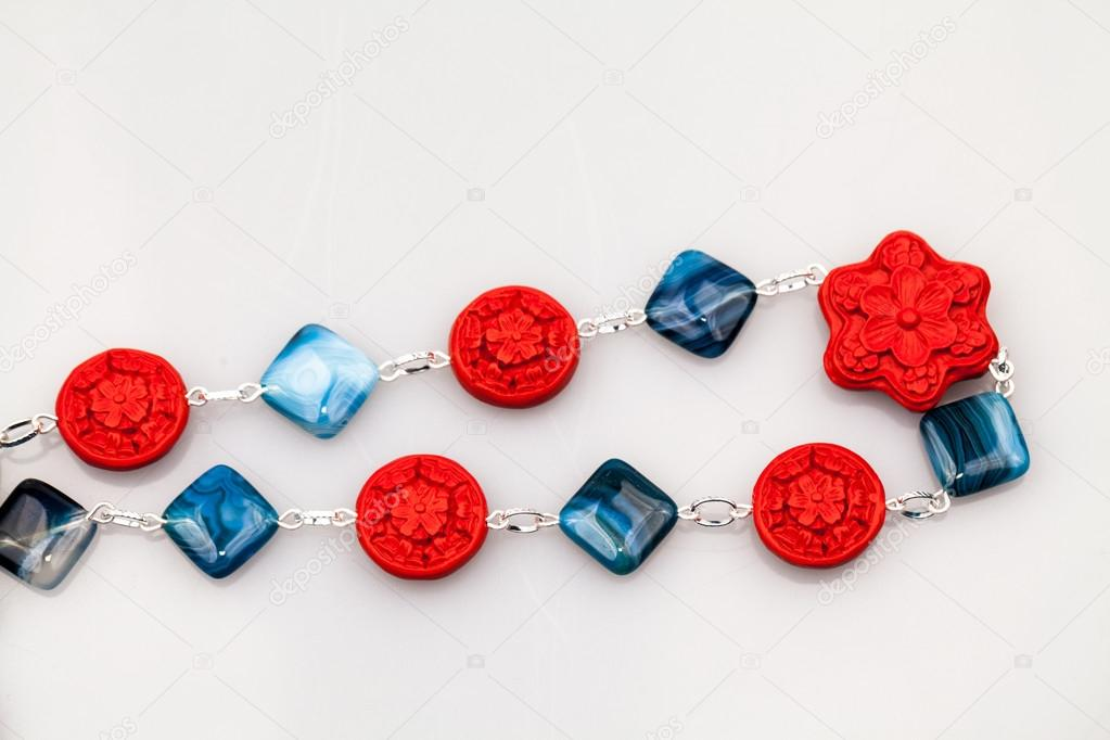 Silver jewels with colorful precious stones — Stock Photo ...