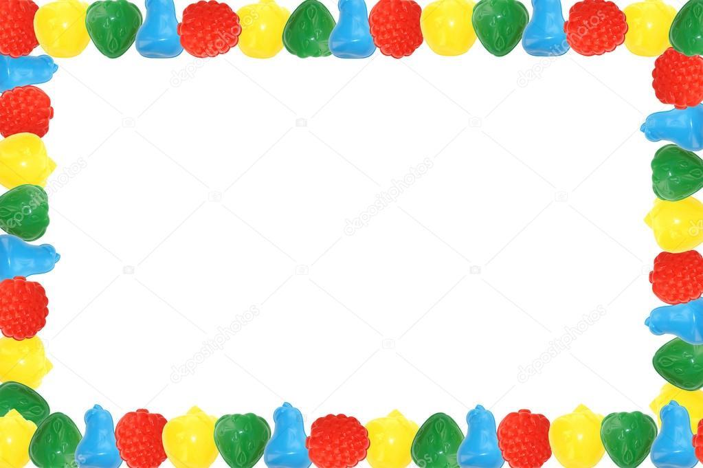 Marco De Tazas Infantiles Coloridos De Frutas Sobre Un