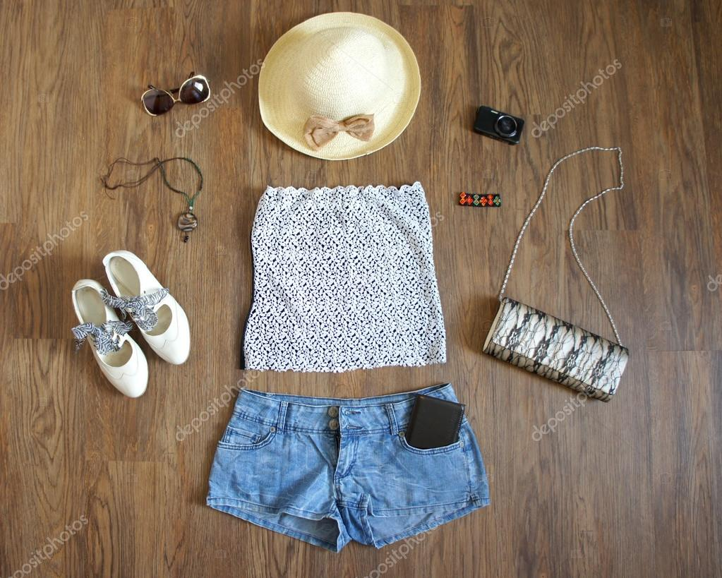 Flat Lay Feminine Clothes And Accessories Collage Lace Top Denim