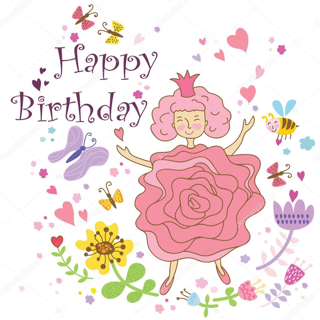 Card Happy Birthday For Women End Gerls Vector By YasnogoraN