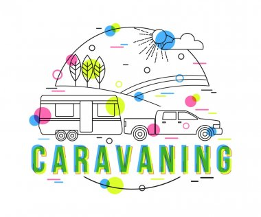 Caravaning Background with vector icons and elements. Outdoor traveling vacation illustration. Traveler truck campsite place landscape. Mobile home. Flat Style, Thin Line Art Design.