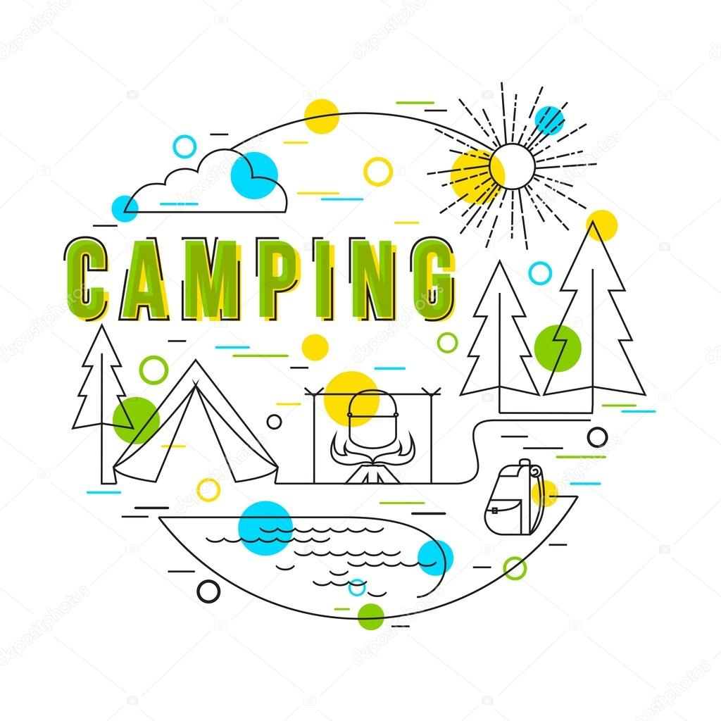Family Camping Gear Vector Hand Drawn Camp Illustration Flat Style Thin Line Art Design By VectorGift