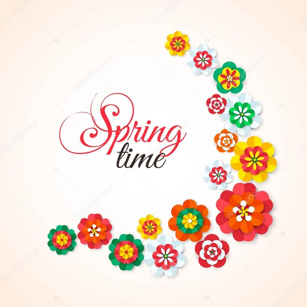 Spring Time Spring Multicolored Cutout Paper Flowers Spring