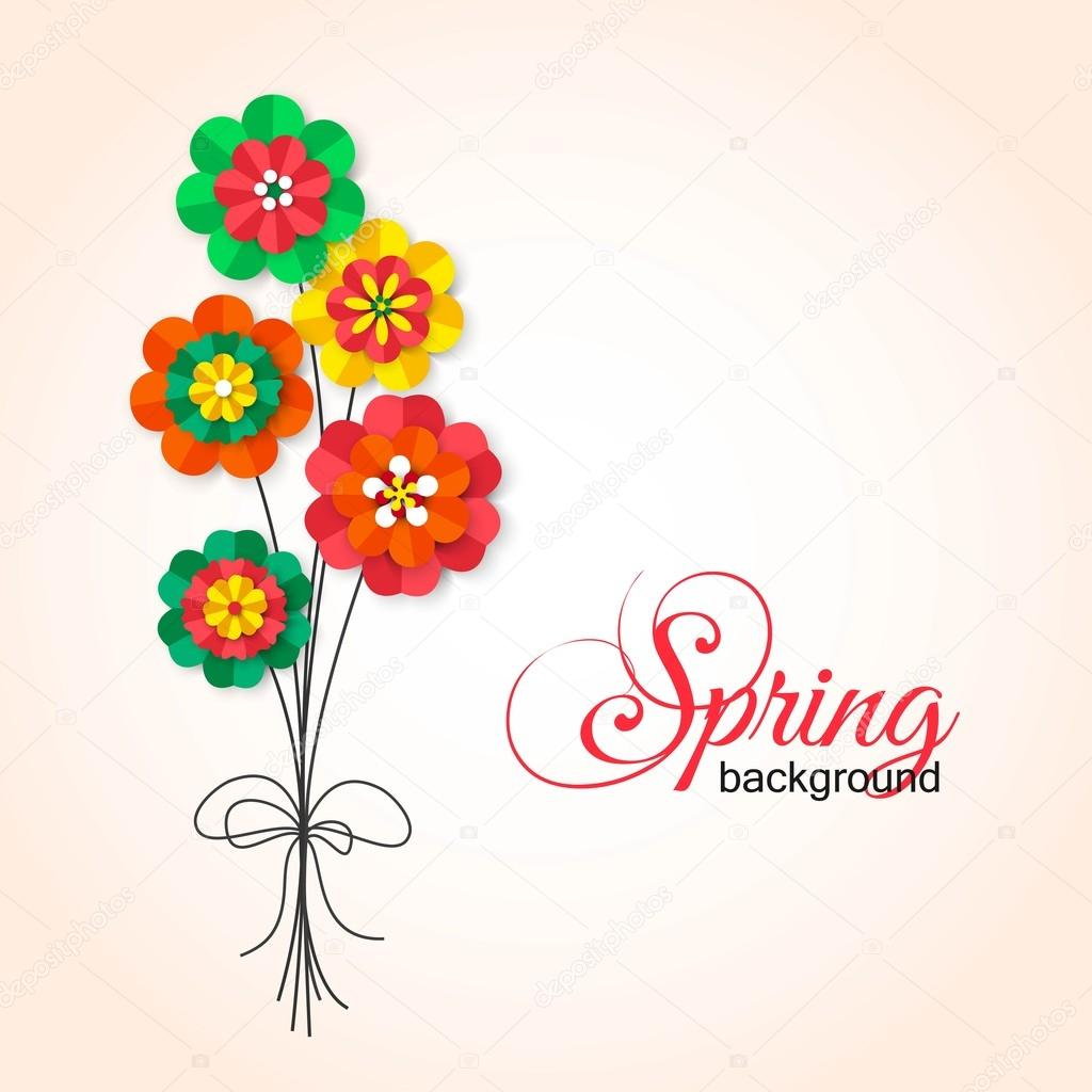 Spring Cutout Paper Flowers Bouquet Of Spring Flowers Vector