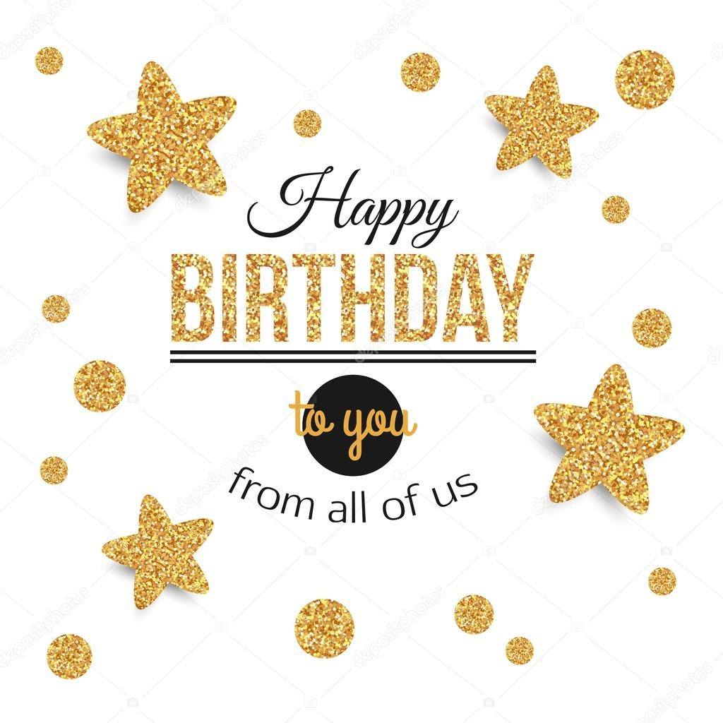 Birthday background with gold stars polka dots birthday gold birthday gold texthappy birthday template for banner flyer brochure gift certificate party invitation birthday card vector illustration stopboris Choice Image