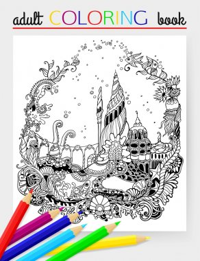 Undersea world - adult coloring page. Undersea world with starfish, fish, octopus, squid, sea horse, castle. Hand drawn Undersea world. Vector illustration.