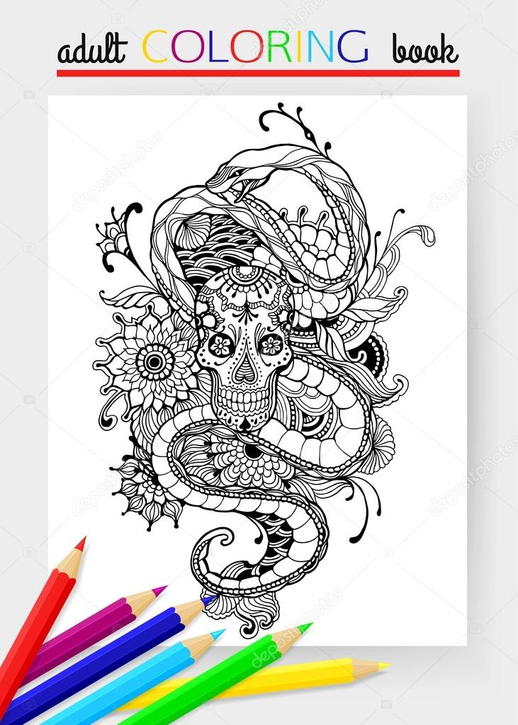 Skull And Snake Adult Coloring Page Hand Drawn Skull Snake