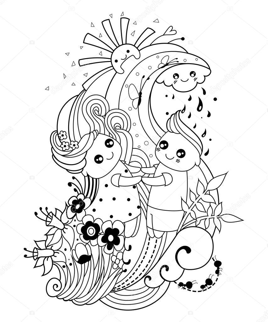 Coloriage Adulte Soleil.Coloriage Adulte Avec Le Garcon Et Fille Nuage Soleil Pluie