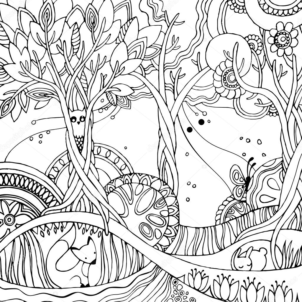 Coloring pages trees and flowers - Adult Coloring Page With Forest Fox Owl Rabbit Butterfly Trees Flowers Fairy Forest Vector Illustration Vector By Vectorgift