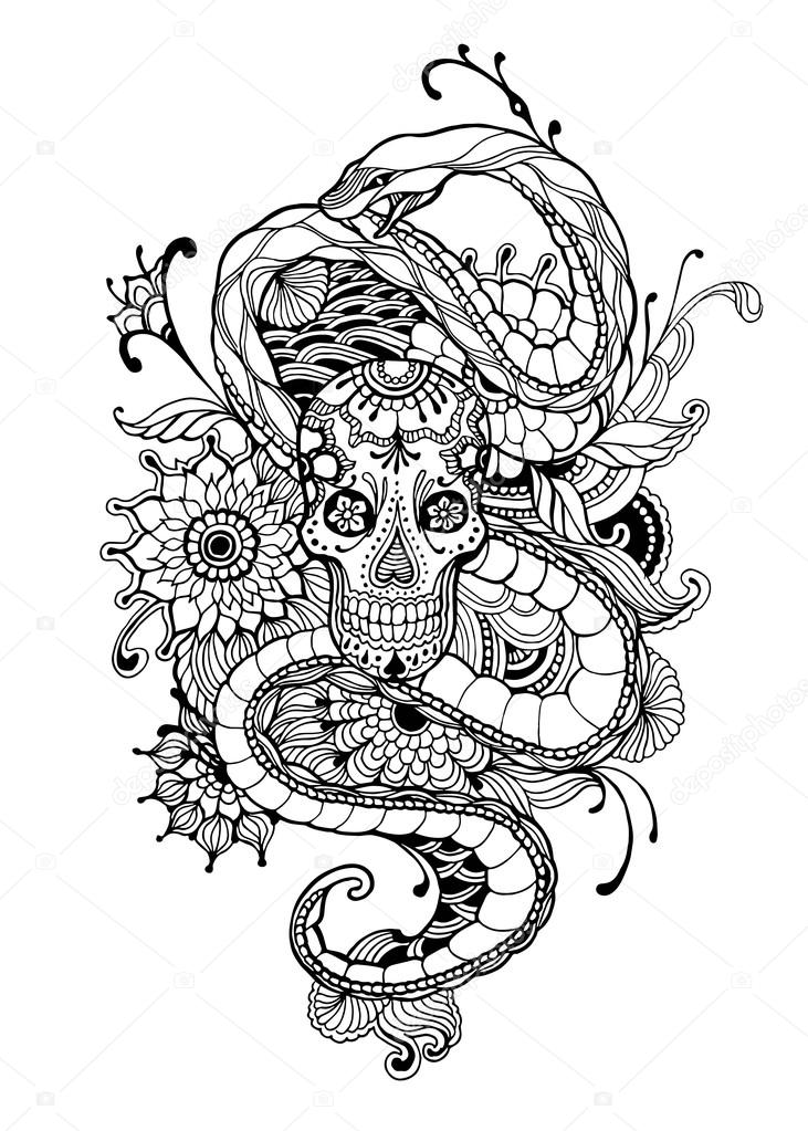 Skull and Snake - adult coloring page. Hand drawn - Skull, Snake ...