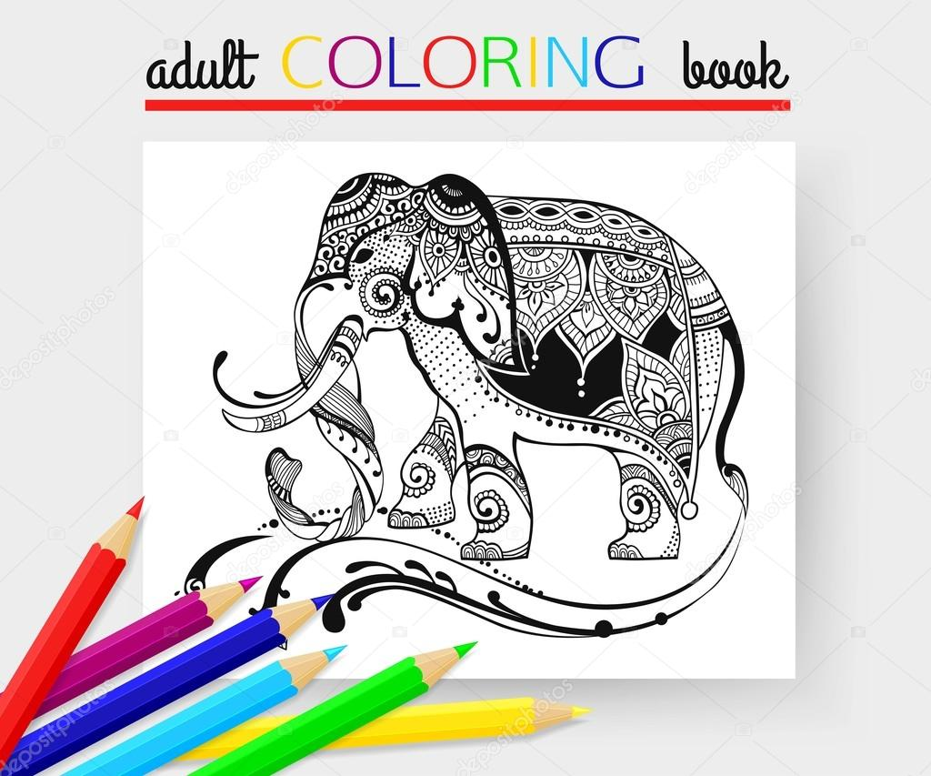 Adult Coloring Page with elephant. Elephant vector. Elephant hand ...