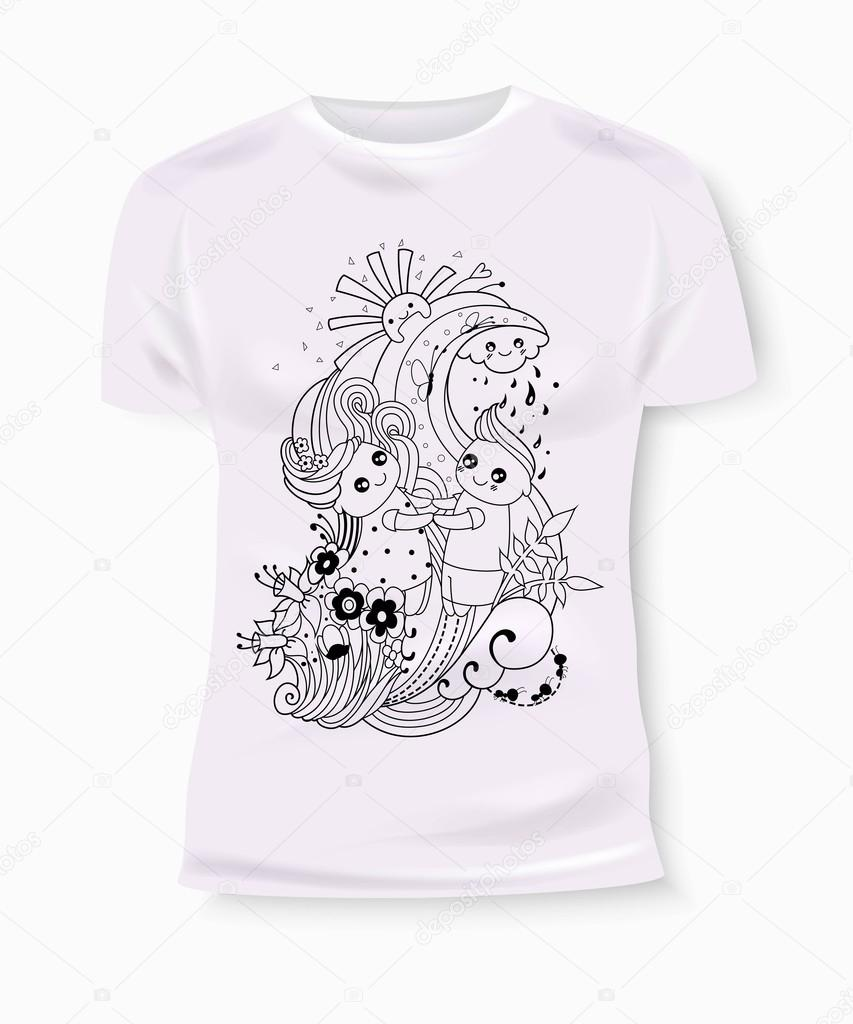 T shirt print design with hand drawn boy and girl t shirt Girl t shirts design