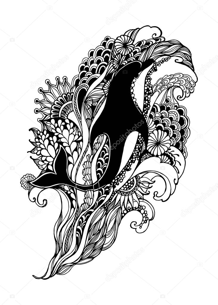 Adult Coloring Page with dolphin. Dolphin vector. Dolphin isolated. Dolphin tattoo. Dolphin vintage. Dolphin book illustration. Vector illustration.