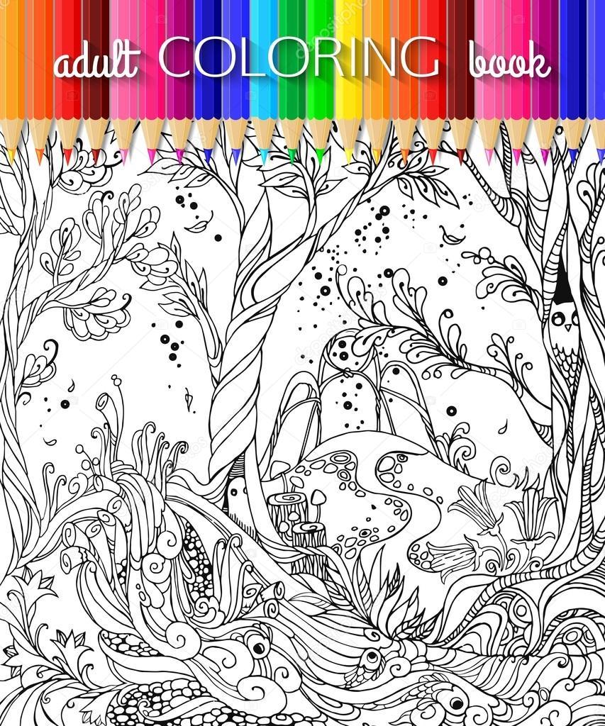 Bosque de hadas - página para colorear de adultos. Ilustración de ...